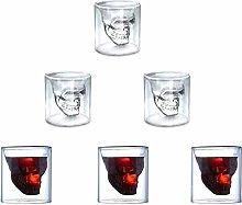 Skull Shot Glass,Set of 6 75ml Skull Glass