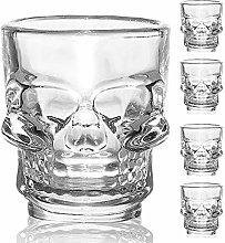 Skull Shot Glasses Set X 4, Gothic Skull Shot