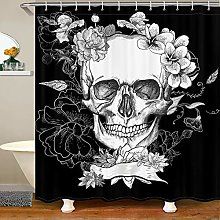 Skull Shower Curtain,Gothic Curtains for Adult