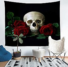 Skull Tapestry Rose Floral Print Tapestry Wall