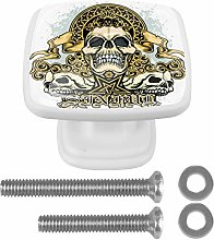 Skull Union 4PCS Drawer Knobs Square Crystal Glass