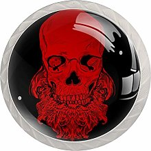 Skull with Beard 4 Pack Round Glass Drawer Knobs