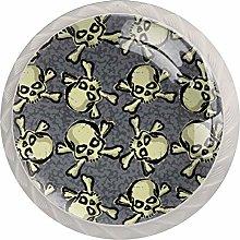 Skull with Bones 4PCS Drawer Knob Pull Handle