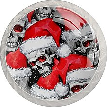 Skull with Christmas Hat 4 Pieces Drawer Knob Pull