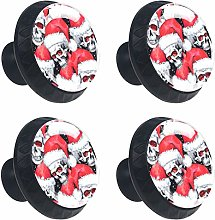 Skull with Christmas Hat 4PCS Round Drawer Knob