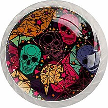 Skull with Floral Drawer Knob Pull Handle Round