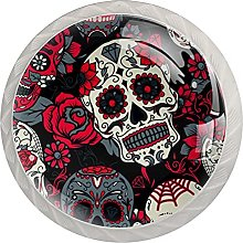 Skull with Floral Ornament and Flower Pattern,