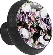 Skull with Flower Bird Snake 12PCS Round Drawer