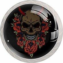 Skull with Flowers Dresser Round Knobs(4PCS) -