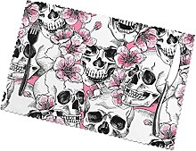 Skull with Flowers Pink Cherry Placemats Table