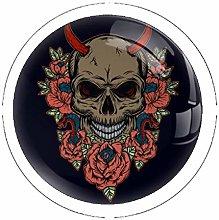 Skull with Flowers Set of 4 Dresser Round Knobs -