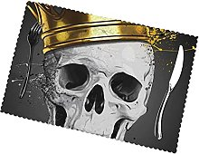 Skull with Gold Crown Printing Placemats for