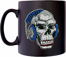 Skull with Headphones a Rock Music Player Musical