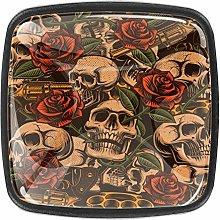 Skull with Rose Vintage Cabinets Knobs 4pcs for