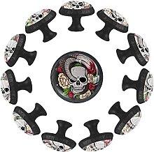Skull with Snake Flowers 12PCS Round Drawer Knob
