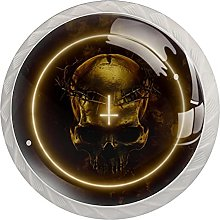 Skull with Thorns, 4 Pack Cabinet Knobs Solid