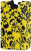 Skull Yellow Laudry Basket,Waterproof and Foldable