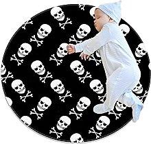 Skulls and crossbones, Printed Round Rug for Kids