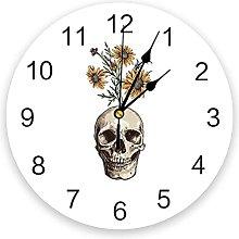 Skulls PVC Wall Clock, Silent Non-Ticking Round