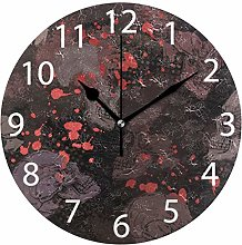 Skulls with Blood Round Wall Clock, Silent