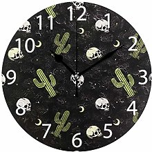 Skulls with Cactus Round Wall Clock, Silent