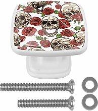 Skulls with Flower Rose Drawer Knob for Home