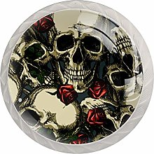 Skulls with Red Roses 4 PCS Crystal Clear Glass