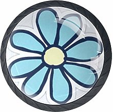 Sky Blue Flower Cabinet Knobs 4 Pieces Drawer