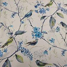 Skylark Bird Song Larkspur Blue Cotton Curtain