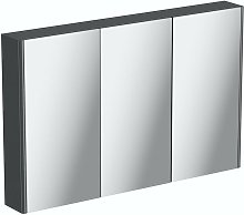 slate gloss grey mirror cabinet 650 x 1000mm - Mode