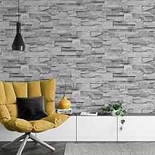 Slate Grey Realistic Stone Brick Wall Effect