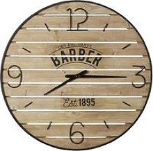 Slatted Printed Pine and Black Metal Clock D95