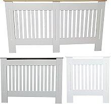 Slatted Radiator Cover, White Wooden Cabinet