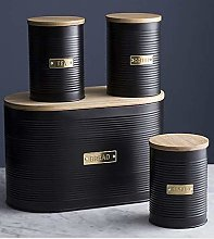 Sleek and Modern Textured Canister Set - Black