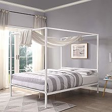 Sleep Design Chalfont White Four Poster Metal Bed