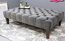 Sleep Tight Chesterfield Grey Large Footstool In
