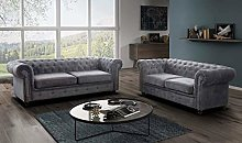 sleepkings Hablo Chesterfield Fabric Sofa Set 3+2