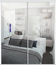Sliding Doors and track W1489 White Frame Mirror