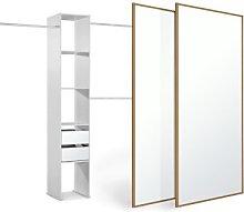 Sliding Doors and track W1499 Oak Frame Mirror +