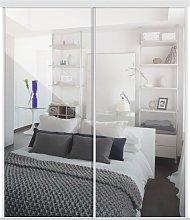 Sliding Doors and track W1793 White Frame Mirror