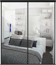 Sliding Doors and track W2216 Black Frame Mirror