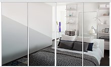 Sliding Doors and track W2978 White Frame Mirror