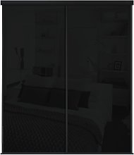 Sliding Wardrobe Door Kit W1803mm Black Glass.