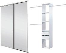 Sliding Wardrobe Door Kit W1803mm White Frame