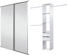 Sliding Wardrobe Door Kit W183mm White Frame