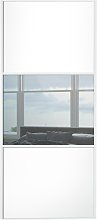 Sliding Wardrobe Door W914mm 3 Panel White & Mirror