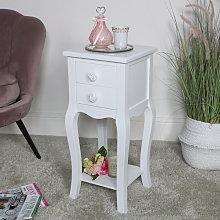 Slim White 2 Drawer Bedside Table - Lila Range