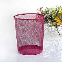 SLINGDA Iron Net Trash Can Round Waste Paper