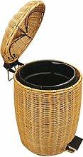 SLINGDA Rattan Round Waste Basket with Plastic