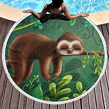 Sloth Printed Round Beach Towel Yoga Picnic Mat